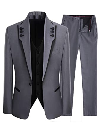 Lilis Men\'s Fashion Gray 3 Pieces Men Suits Wedding Suits One ...
