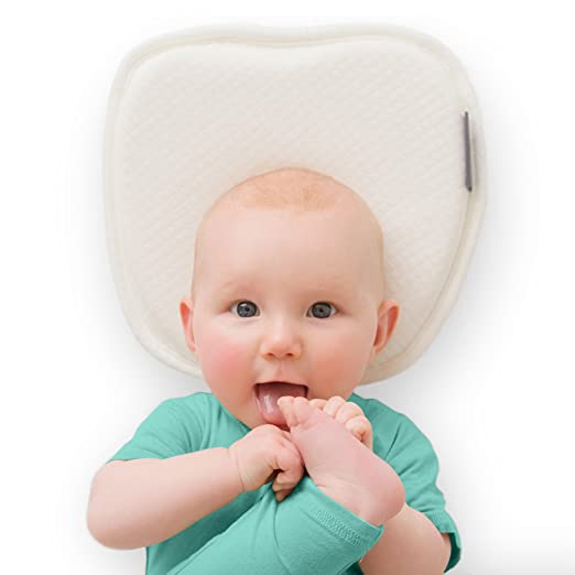 Flat Head Baby Pillow with 2 White Washable Cotton Covers