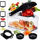 Godmorn Vegetable Choppers Mandoline Slicer Dicer Mandolin Cutter, Ribbon and Spiral Slicer with Container Holder, 5 in 1 ABS Body Anti-slip Double-use Premium Kitchen Veges Cutter Julienne