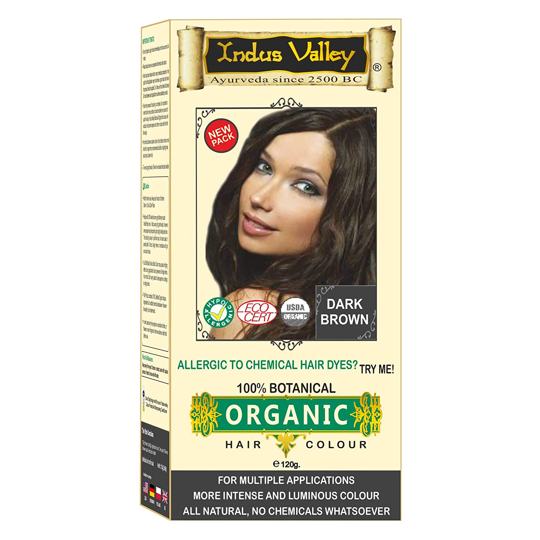 Indus Valley 100% Botanical 100% Organic Dark Brown Natural Hair Dye For Sensitive Skin, Lactating women & For Allergy Sufferers- 120 gm