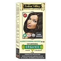 Indus Valley 100% Botanical 100% Organic Dark Brown Natural Hair Dye For Sensitive...