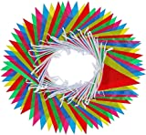 walolo Bunting, 164 Feet Multicolor Nylon Pennant Banners, 50-Meter 35x23cm