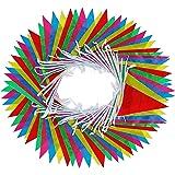 Striscione multicolore di plastica della bunting di 130 piedi per la decorazione del partito, Pennants totalmente 75PCS (15 bandiere sulla stringa - 5 pacchetti)