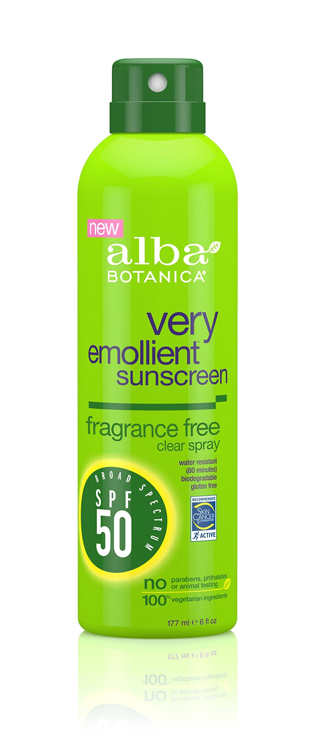 Alba Botanica Very Emollient, Fragrance Free Spray Sunscreen SPF 50, 6 Ounce