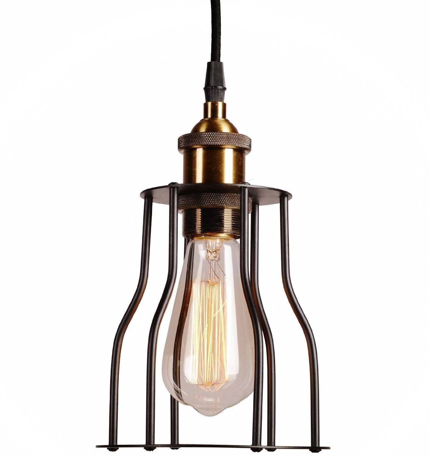 LIGHTESS Kitchen Pendant Light Industrial Hanging Ceiling Lighting Fixtures Metal Mini Cage Pendant Lamp Black, CY-Y1