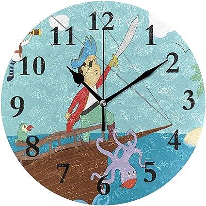 Cy Ril Horloge Murale Ronde Clipart Horloge Boa Pirate Pour La Decoration Interieure Creative Amazon Fr Cuisine Maison