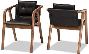 Baxton Studio Set of 2 188-11663-AMZ Dining Chairs, Black/Walnut Brown