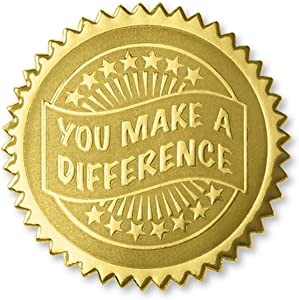 PaperDirect Embossed You Make a Difference Certificate Seals, 102 Pack (Gold)