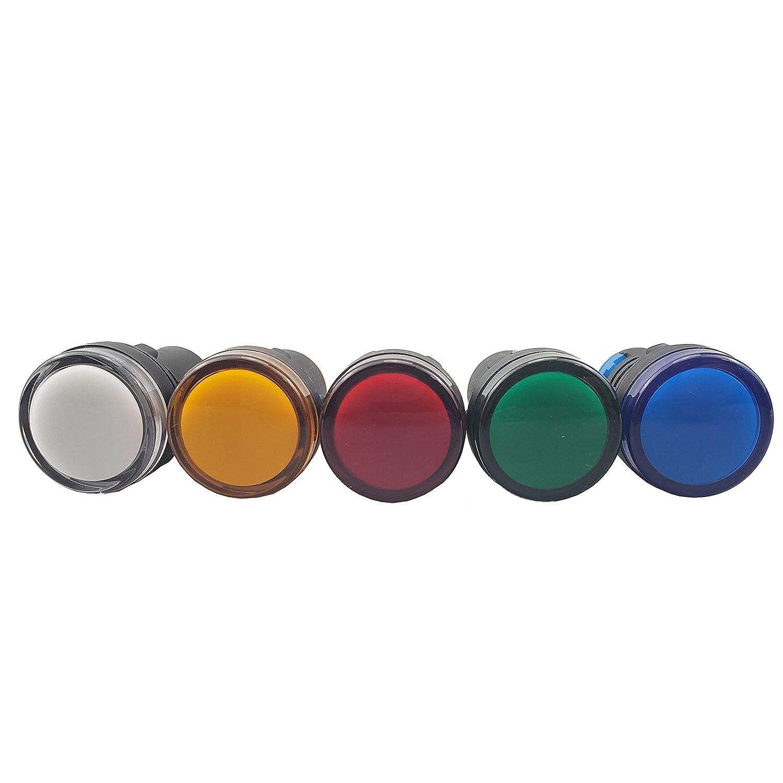 Yellow 22mm AC LED Pilot Panel Indicator Light 120V Pack of 10