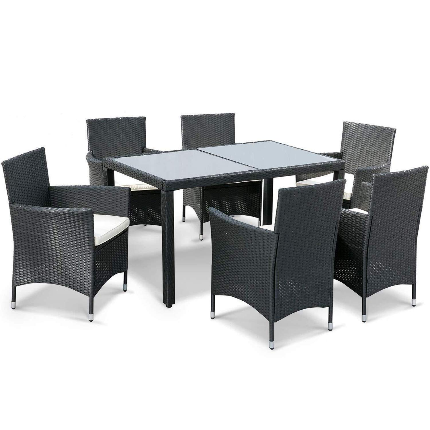 Leisure zone 7 pieces luxury garden dining table and chairs outdoor rattan furniture set with rectangular glass top weatherproof wicker rattan outdoor