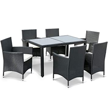 Leisure Zone 7 Pieces Luxury Garden Dining Table and Chairs Outdoor Rattan Furniture Set with Rectangular  sc 1 st  Amazon UK & Leisure Zone 7 Pieces Luxury Garden Dining Table and Chairs Outdoor ...