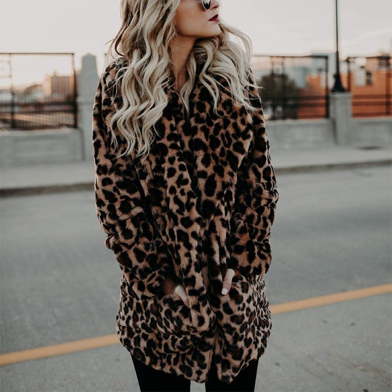 Secret-shop Leopard Turn-Down Collar Thickened Womens Coats Long Sleeves Warm Lady Jackets Winter,Leopard Print,M
