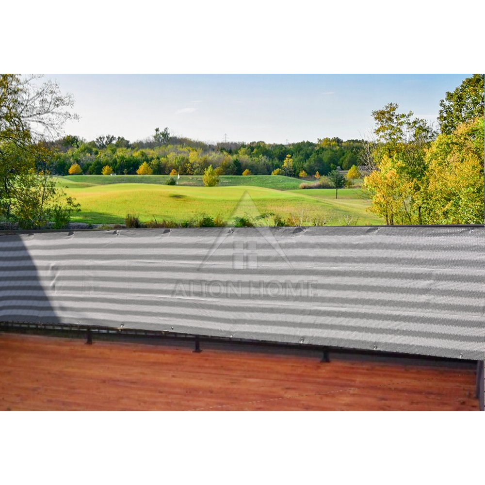 Alion Home Elegant Privacy Screen Mesh for Backyard, Deck, Patio, Balcony, Pool, Fence. (35'' x 6', Grey White)