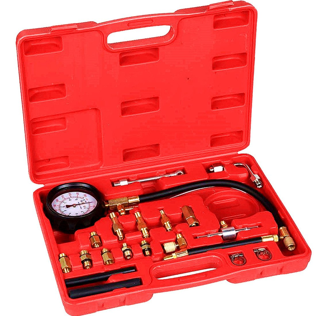 Detool Fuel Pressure Tester Fuel Injection Gas Gasoline Pressure(0-140PSI) Gauge Kit Car Tools for Cars & Truck