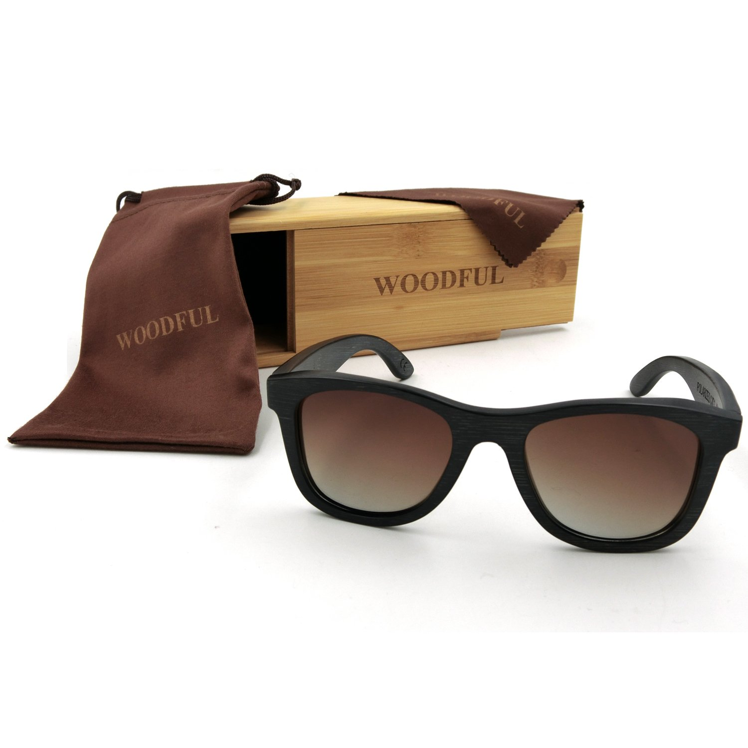 Polarized Sunglasses Wood Bamboo Glasses for Men with Wooden Eyeglasses Case