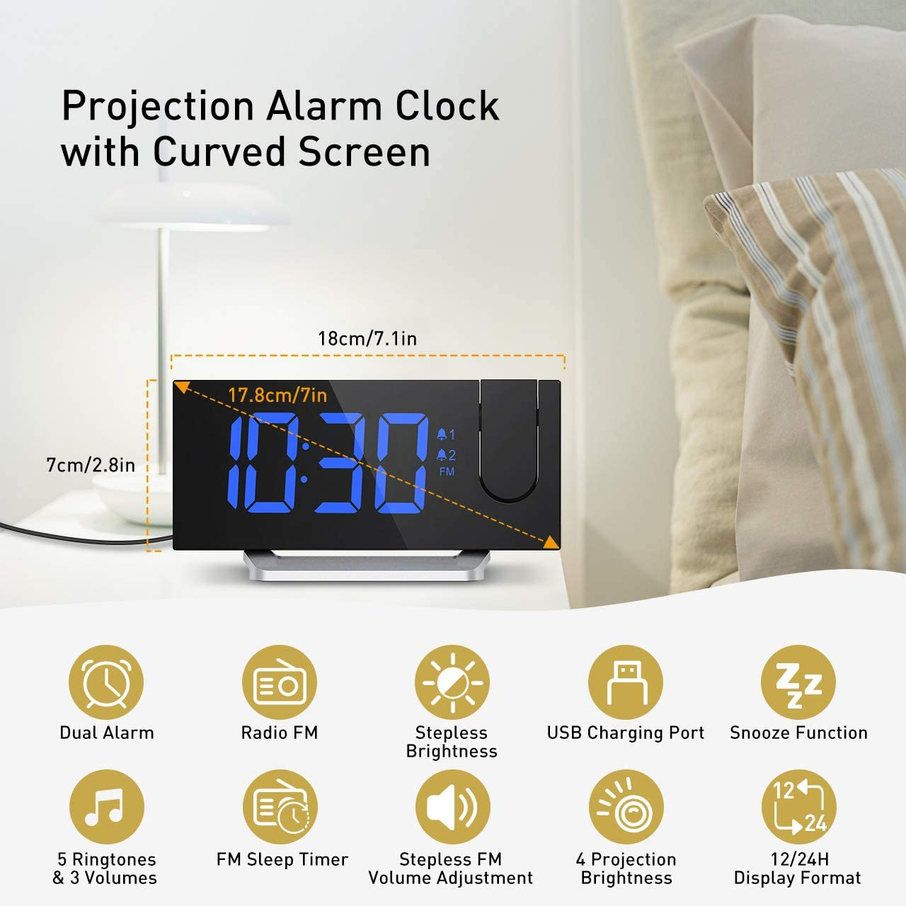 Mpow Projection Alarm Clock, Radio Digital Clock with USB Charger, 0-100 Full Range Brightness Dimmer, Dual Alarm Clock with 5 Sounds for Heavy Sleeper, Snooze