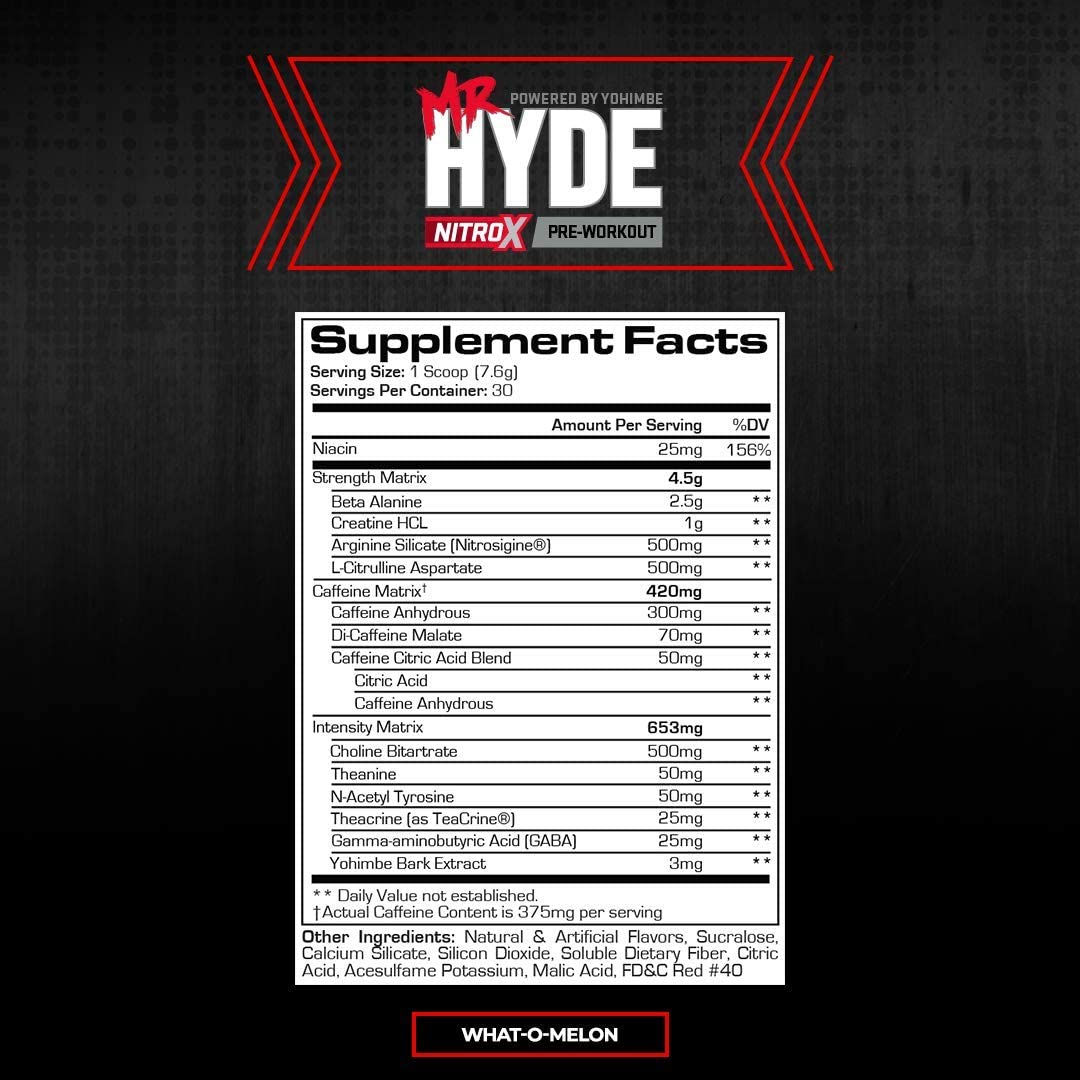 ProSupps® Mr. Hyde® NitroX Pre-Workout Powder Energy Drink - Intense Sustained Energy, Pumps & Focus with Beta Alanine, Creatine & Nitrosigine, (30 Servings, What-O-Melon): Health & Personal Care