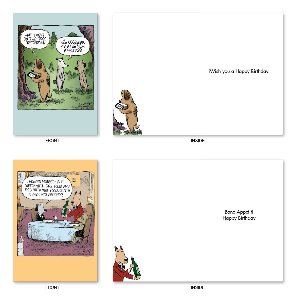 "10 'Dog Days Birthday Assortment' Note Cards (with Envelopes) - Assorted & Boxed Greeting Cards - Funny Cartoon Bday Cards for Friends, Family, All Ages - Stationery Notecards (4"" x 5 ¼"") #A2665BDG by NobleWorks (Image #4)"