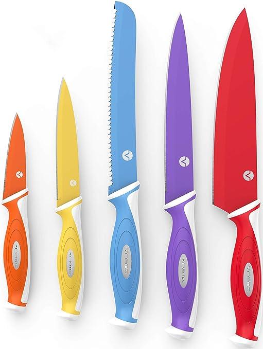 Vremi Colorido Set de Cuchillos de 10 piezas – 5 Cuchillos de cocina con 5 Cubiertas de cuchilla – Set de Cuchillos para Chef que incluye cuchillo ...