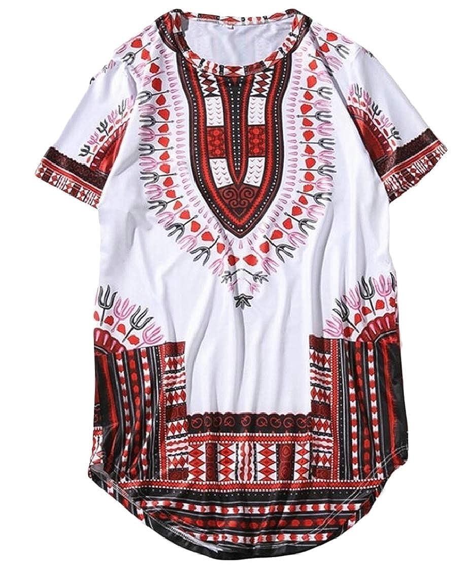 Fubotevic Mens Short Sleeve Round Neck Dashiki African Print Basic T-Shirts Tee