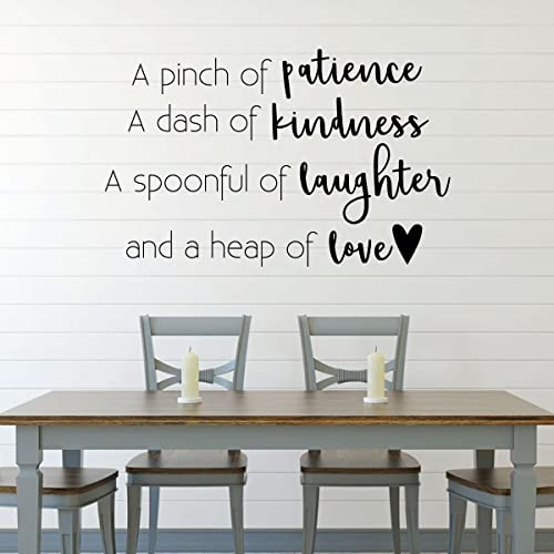Amazon Com Dining Room Wall Decal A Pinch Of Patience A Dash Of Kindness Farmhouse Vinyl Sticker Decoration For Home Or Kitchen Decor Handmade