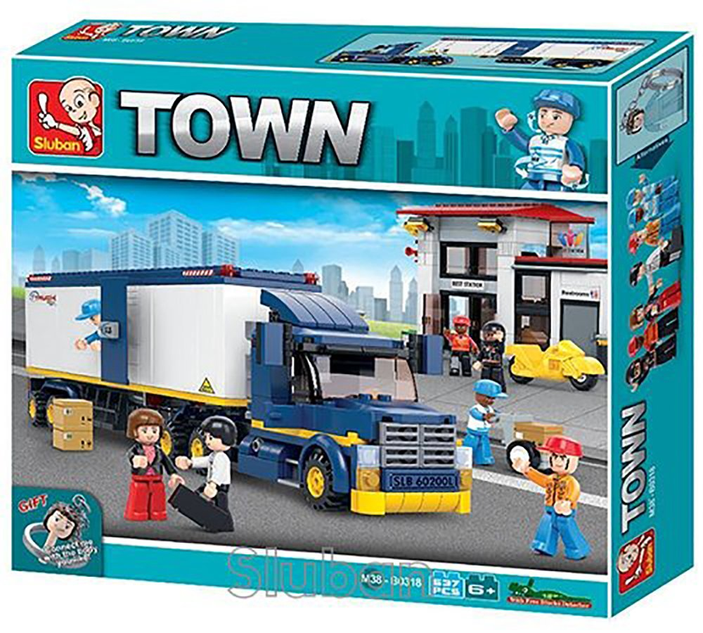 Building Blocks M38-B0318 Sluban Heavy Duty Truck Transporter 537 Pieces in Original English Box 100/% Compatible Educational Toy