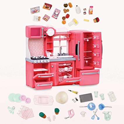 Our Generation by Battat- Gourmet Kitchen (Pink)- Toy, Kitchenette &  Accessories for 18\