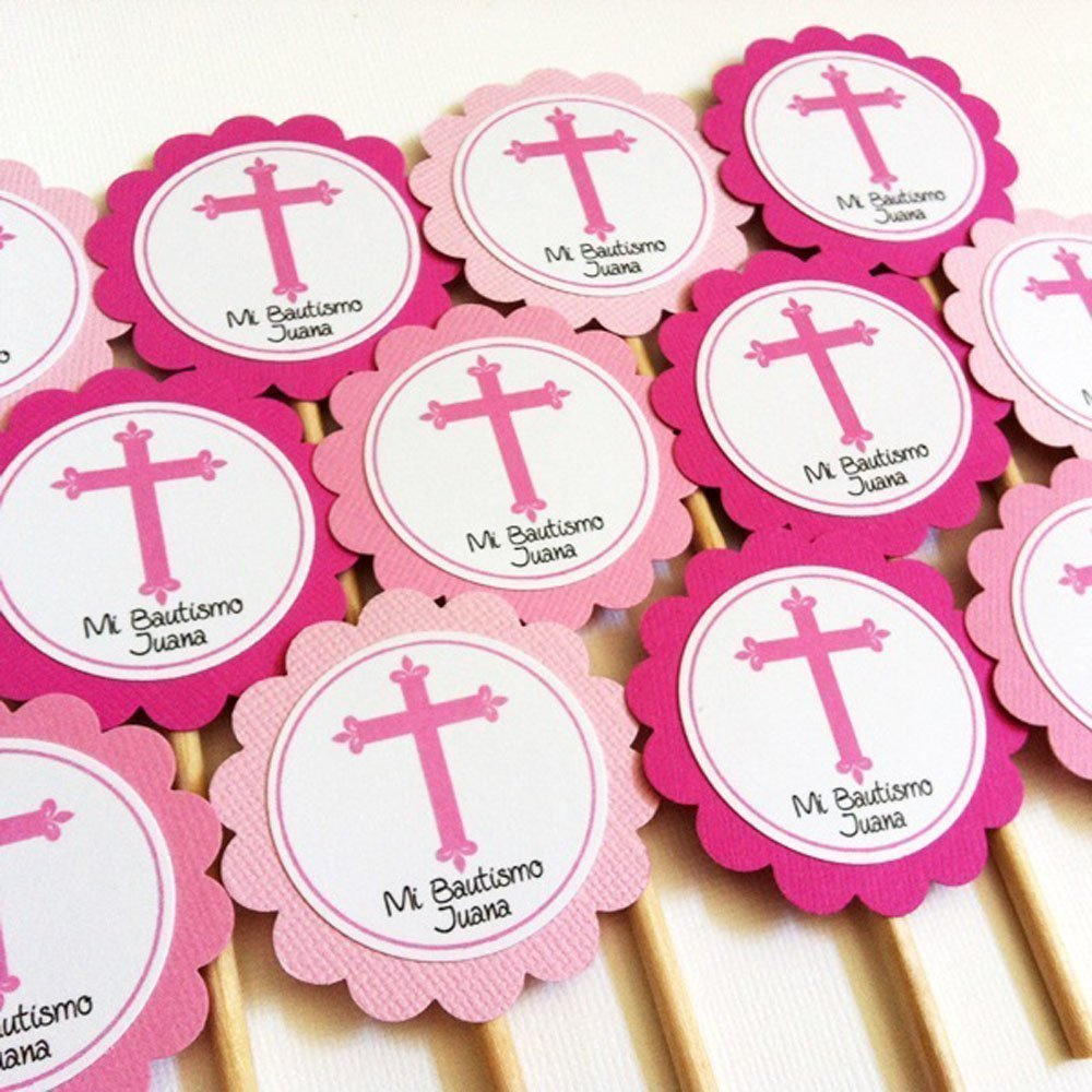 Amazon.com: Pink Cross Cupcake Toppers - Baptism First Holy ...