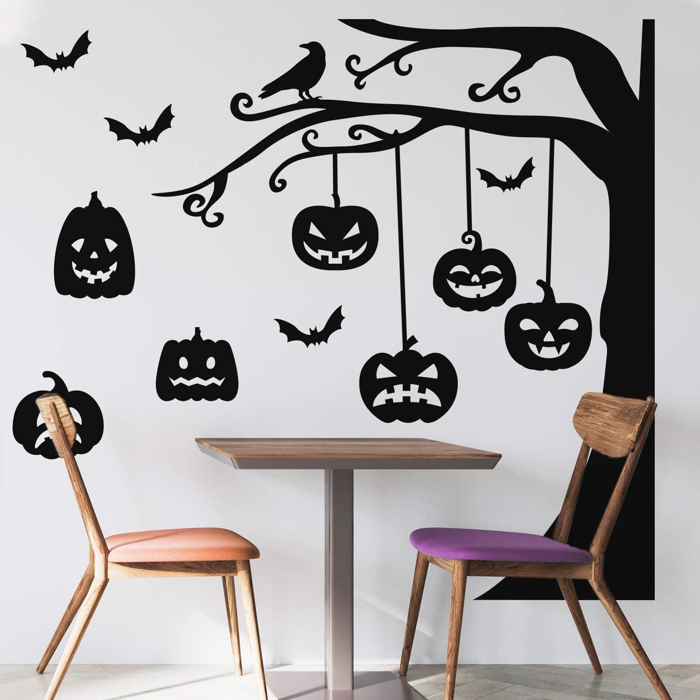 Vinyl Wall Art Decal - Graveyard Tree & Pumpkin - 60