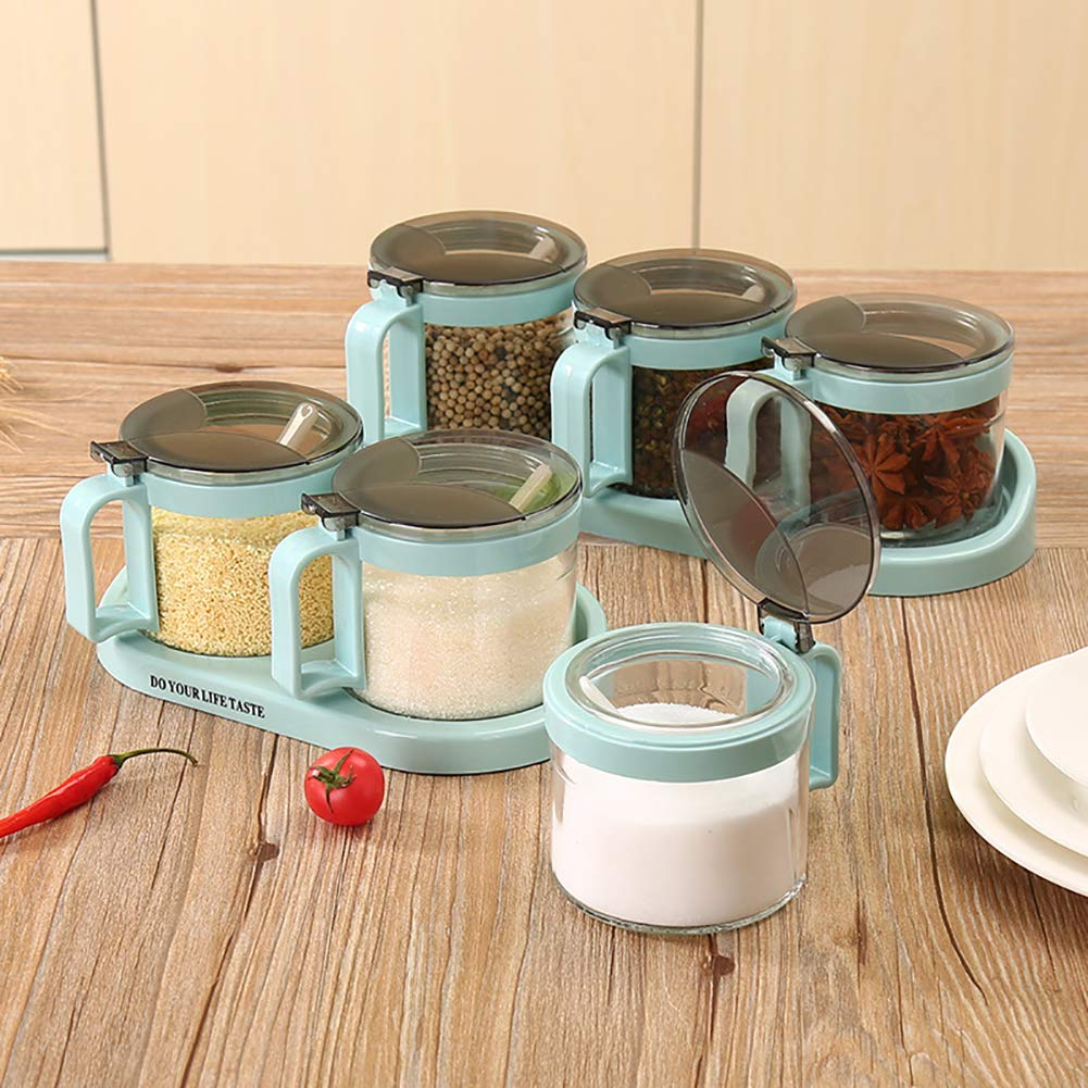 heaven2017 Spice Jar Condiment Storage Seasoning Bottle Container Condiment Pot Double Jar by heaven2017 (Image #2)