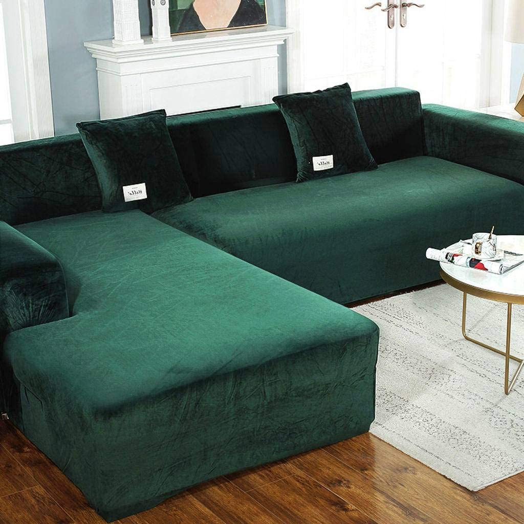 SHAFAJNC Elastic Velvet L Shape Sofa Slipcover,Anti-Slip 1 2 3 4 Seater Stretch Couch Cover for Sectional Anti Scratch Sofa Cover Sofa Protector Pets Dog Cat-3 Seat 190-230cm-Dark Green