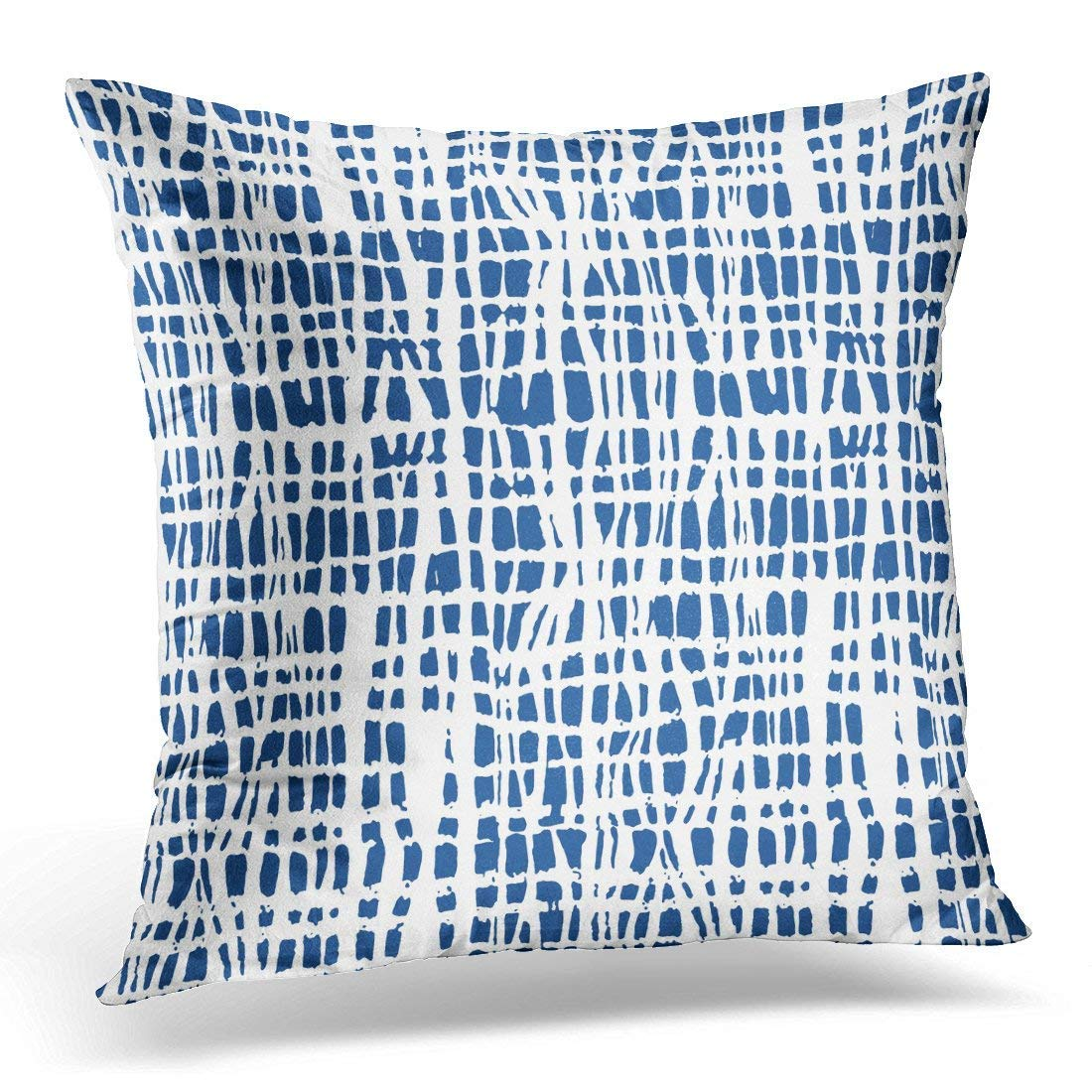 Ikat Weave Watercolor Japanese Traditional Indigo Shibori Pattern Minimalism Abstract Decorative Pillow Case Home Decor Square 18x18 Inches 45cm F. Twiggs