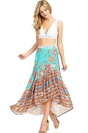 d09b2545e86589 Flying Tomato Women s Boho Floral Print Maxi Skirt at Amazon Women s  Clothing store