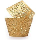 KING DO WAY 12 Pcs Pirottini Carta per Tortine Muffin Cupcake - Tazze Antiaderenti Stampini - Perfetto per Gelato Snack Congelati Dolcet Avvolgi Muffin Decorativi Cupcake Wrapper Gold