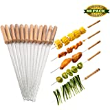 Barbecue Skewers, 48 PCS Barbecue String with Wooden Handle BBQ Stick Needles Outdoor Camping Outings Cooking Tools