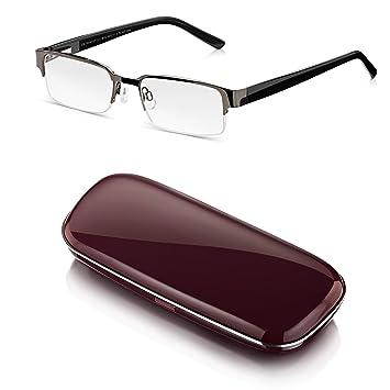 Read Optics-Gafas de Lectura Presbicia de Hombre desde +1,00 - + 3,50 Dioptrías + Duro Estuche: Estilo Retro, Media Montura Negra, Bisagras de ...