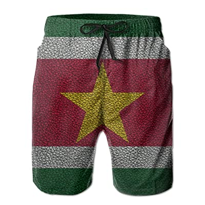 0795268c07 HFSST Leather Pattern Surinamese Flag South AmericaHandsome Fashion Summer  Cool Shorts Swimming Trunks Beachwear Beach Shorts