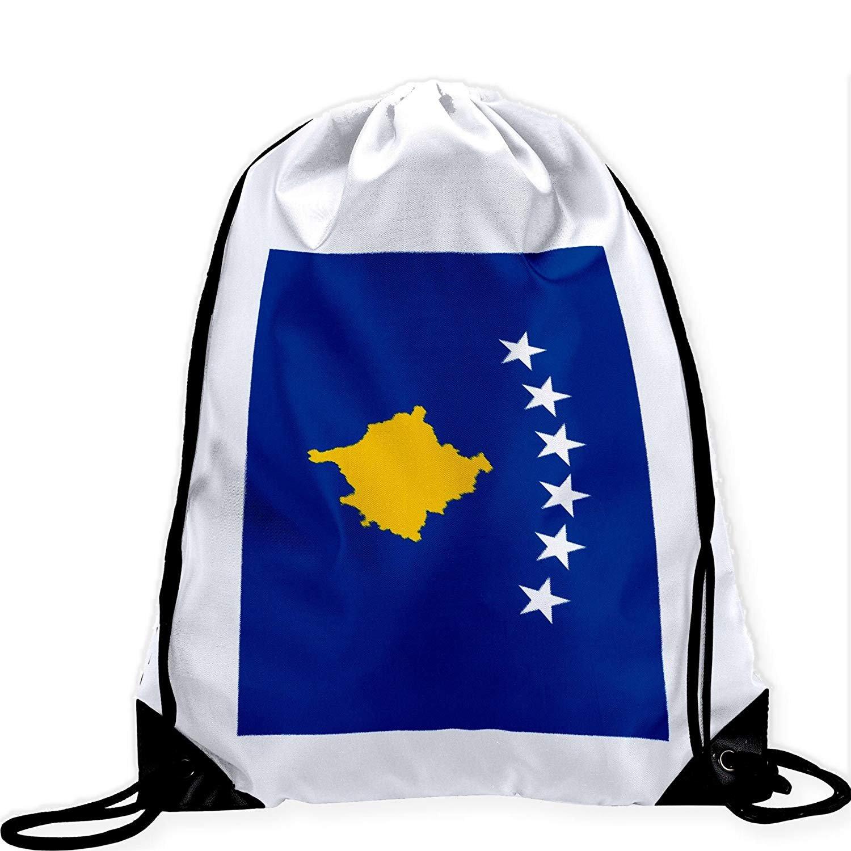 Large Drawstring Bag with Flag of Koxovo - Many Designs - Long lasting vibrant image