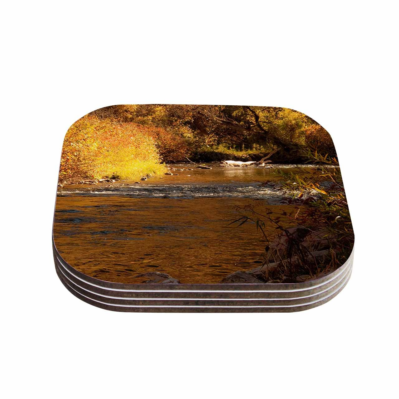 KESS InHouse Sylvia Coomes'Autumn Stream Brown Yellow' Coasters (Set of 4), 4 x 4', Multicolor