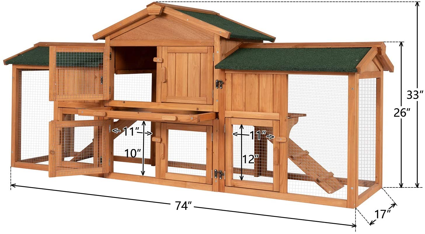Kinbor Rabbit Hutch with Run Wooden Bunny Hutch Outdoor Indoor ...