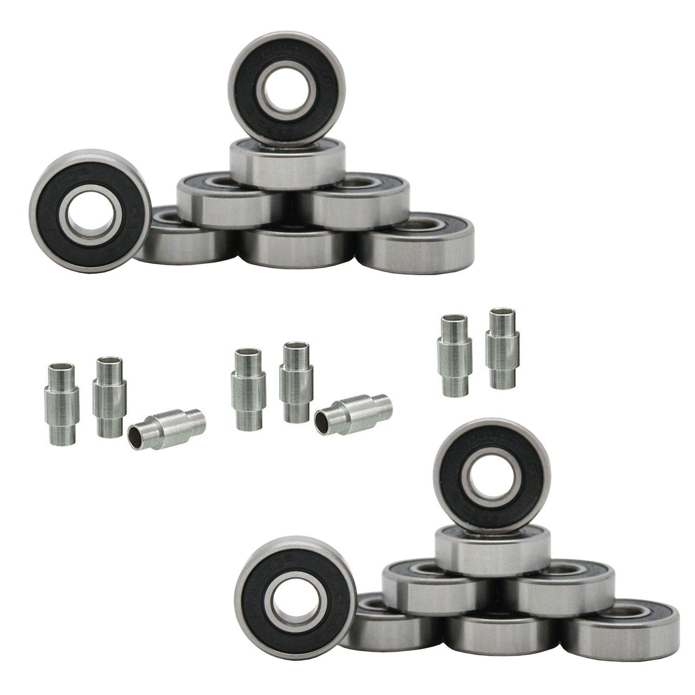 Bullseye Hockey Bearings ABEC 9, 7, 5 Inline Roller Speed Package 16 Bearings and 8 Spacers Kit (ABEC 5 - Black)