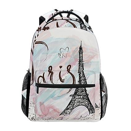 TIZORAX Paris Eiffel Tower - Mochila para el Colegio o la Universidad, para Senderismo,