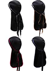 9f9a7c4bdf920 URATOT 4 Pieces Silky Soft Durag Cap Headwrap with Long Tail Silky Pirate  Durag Cap for
