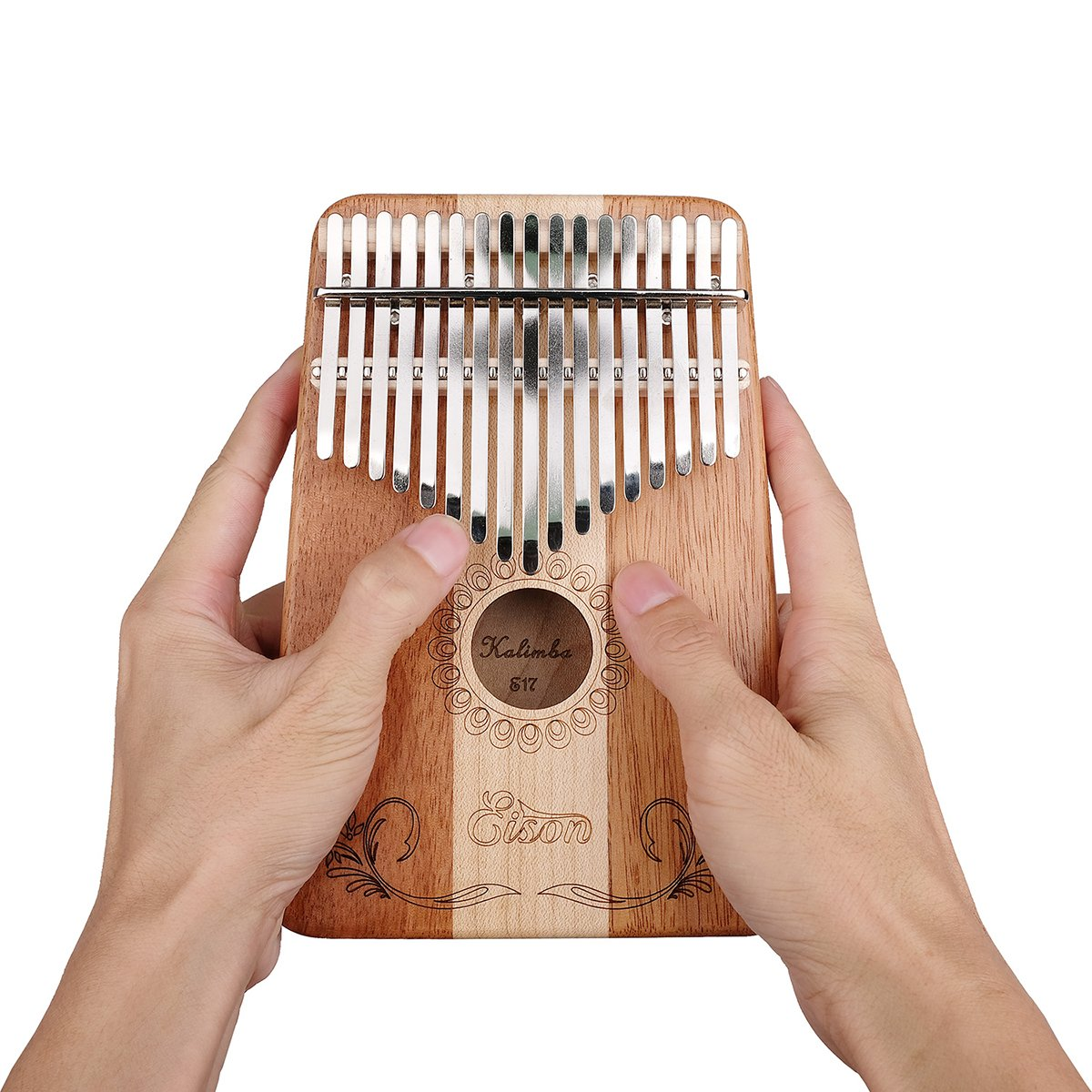 Kalimba,Eison Kalimba Thumb Piano Finger Piano 17 keys with Key Locking System with Instruction and Tune Hammer, Solid Wood Mahogany & Maple Body- Best Gift for Music Fans Kids Adults,E-17 by Eison (Image #3)