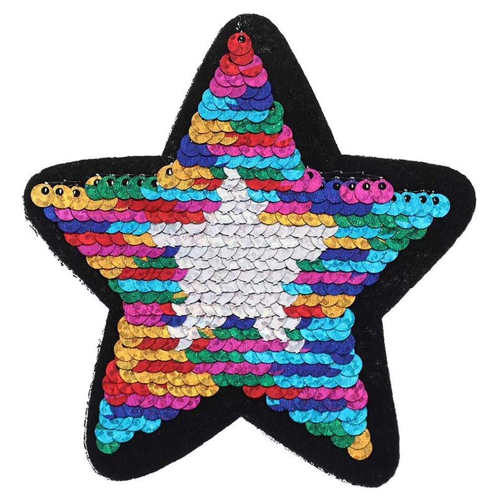 OSAYES Brillante de Estrellas de Cinco Puntas Cambio Reversible Color Lentejuelas Coser en Ropa Accesorios DIY Ropa Parches para T Shirt Jeans Ropa Bolsas Zapatos Cortina 1pc