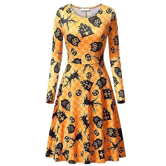 Lenfesh Mini Vestido Halloween Mujer Vestido de Fiesta Amarillo Casual Manga Larga de Mujeres: Amazon.es: Ropa y accesorios