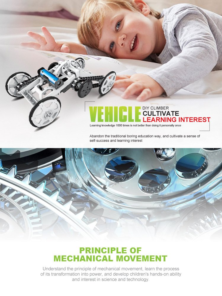 Mochoog STEM 4WD Electric Mechanical Assembly Gift Toys Kit | Intro to Engineering, DIY Climbing Vehicle, Circuit Building Projects for Kids and Teens | DIY Science Experiments Using Real Motor by Mochoog (Image #9)
