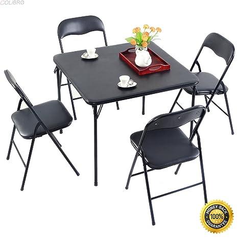Strange Amazon Com Colibrox 5Pc Black Folding Table Chair Set Andrewgaddart Wooden Chair Designs For Living Room Andrewgaddartcom