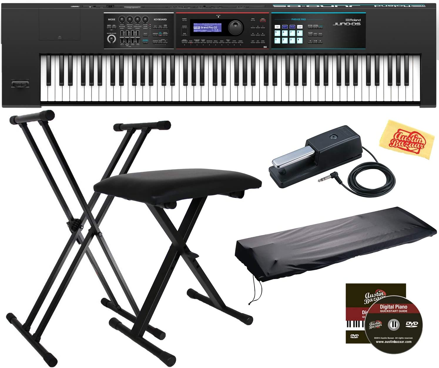 Amazon Com Roland Juno Ds 88 Synthesizer Bundle With Roland Dp 10 Damper Pedal Adjustable Stand Bench Dust Cover Austin Bazaar Instructional Dvd And Polishing Cloth Musical Instruments