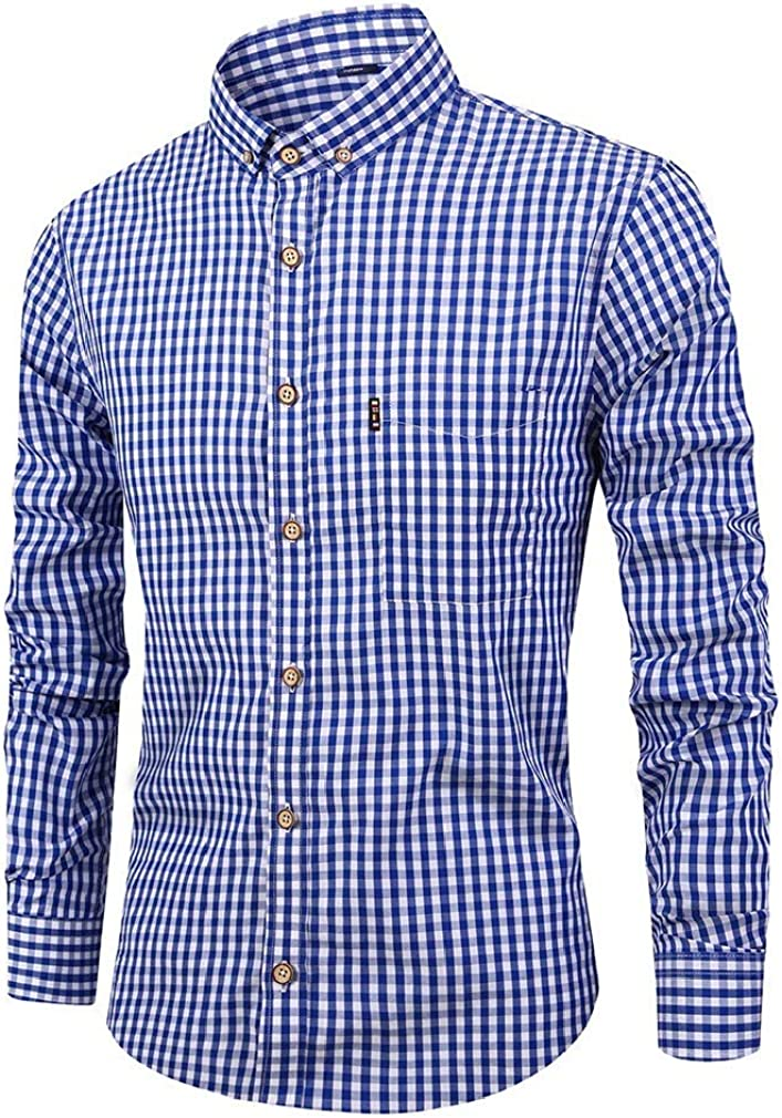 HEFASDM Mens Non-Iron Relaxed Fit Single Breasted T-Shirts Work Shirt